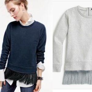 J crew gray fringe sweatshirt